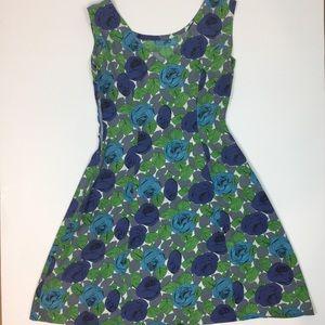 Vintage 70's Floral Fit & Flare Midi Dress Sz 4